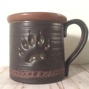 Large Dog paw pottery coffee tea mug
